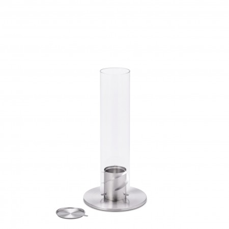 höfats SPIN 90 silber Bioethanol Windlicht | Tischfeuer | Gartenfackel