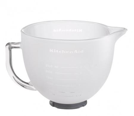 Glasschüssel, Milchglas, 4,8 L, mit Griff und Silikondeckel
