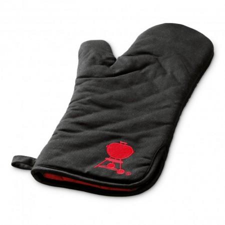 Grillhandschuh, Schwarz mit rotem Kettle