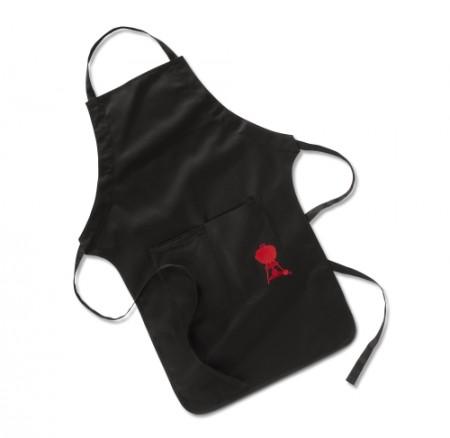 Grillschürze Schwarz mit roten Kettle Grill