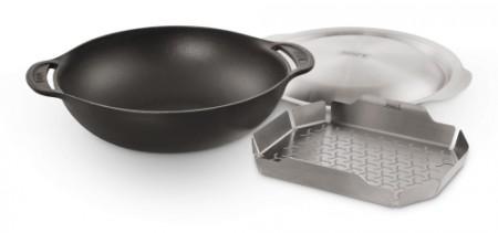 Wok Einsatz - Gourmet BBQ System, inklusive Deckel und Dünsteinsatz