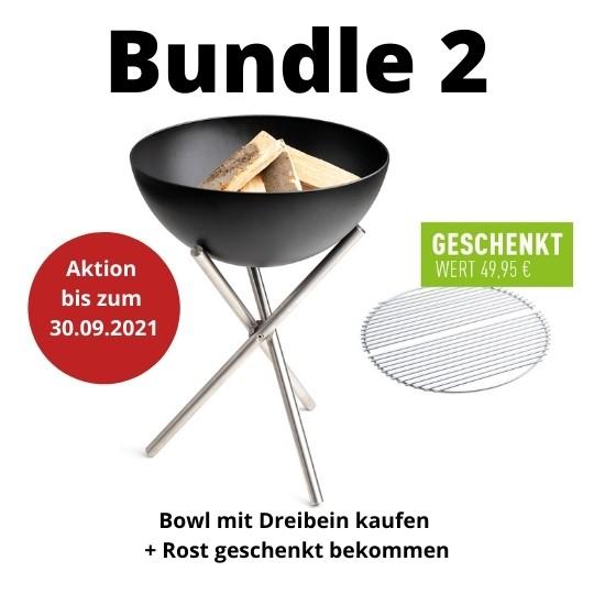 BUNDLE 2 höfats BOWL mit Dreibein Feuerschale / Grill mit Grillrost gratis