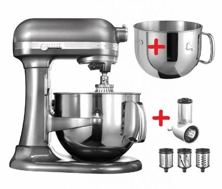 6,9 L-Artisan Küchenmaschine mit Schüsselheber medaillon silber